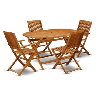 DICM52CANA 5 Pc Acacia Wood Outdoor Patio Set offers an Outdoor Table & 4 Foldable Chairs