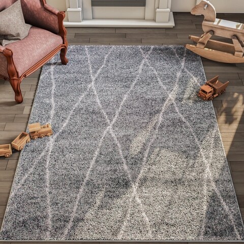 Furniture of America Cameron Contemporary Grey Area Rug - 5'3 x 7'6