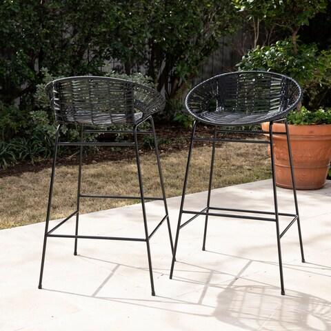 Havenside Home Cassandro Black Faux Rattan Modern Outdoor Stools (Set of 2)