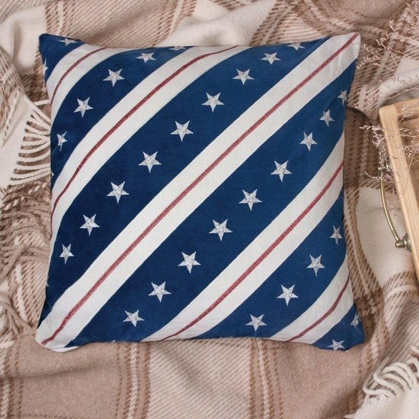 Porch & Den Vinings Stars and Stripes Blue Accent Pillows (Set of 2)