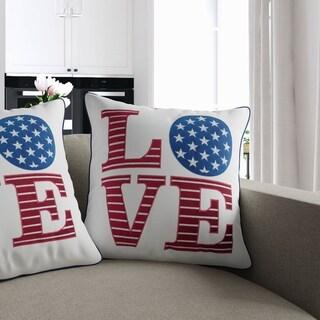 Porch & Den Tamaway Patriotic 'Love' Accent Pillows (Set of 2)