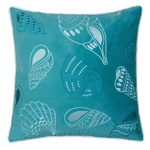 Porch & Den Vincent Teal Sea Shell Accent Pillows (Set of 2)