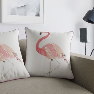 Porch & Den Tamera Flamingo Pink and White Accent Pillows (Set of 2)