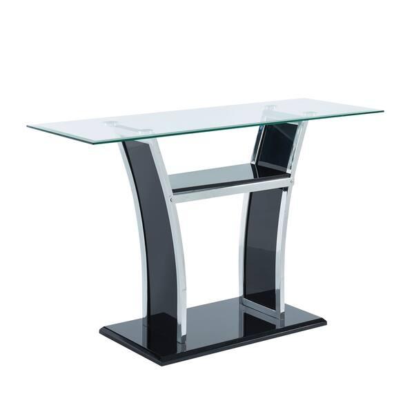 Shop Furniture Of America Bofi Modern Metal Glass Top Sofa Table