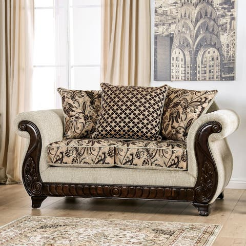 Gracewood Hollow Hasanov Traditional Beige Loveseat