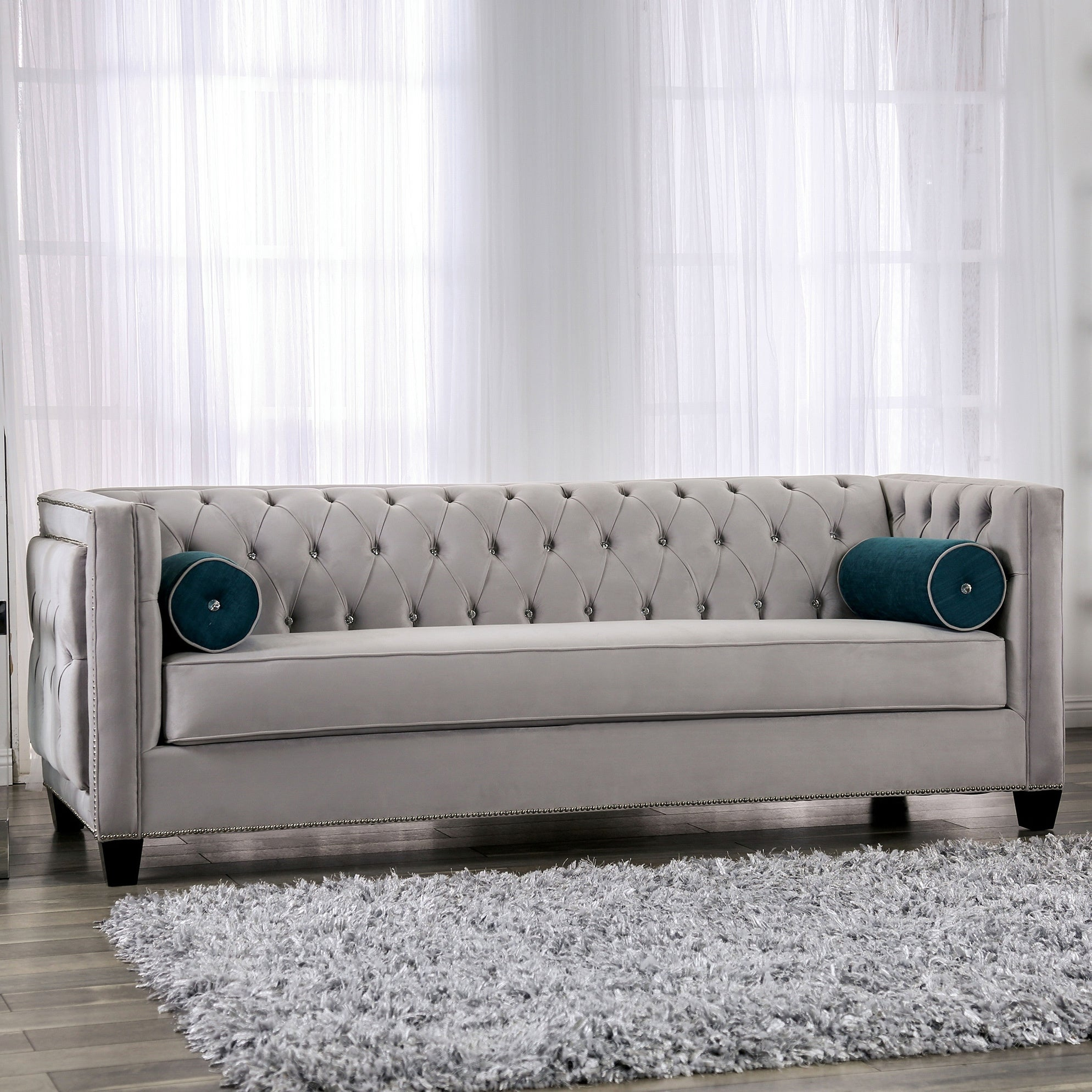 Silver Orchid Aye Glam Grey Tufted Sofa