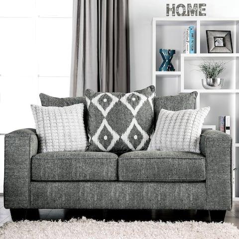Furniture of America Myrnohrad Contemporary Grey Loveseat