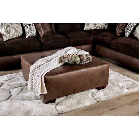 Furniture of America Burnley Leatherette Contemporary Ottoman