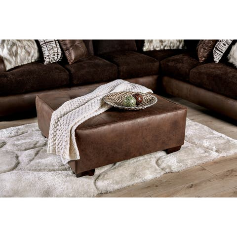 Furniture of America Burnley Leatherette Contemporary Ottoman