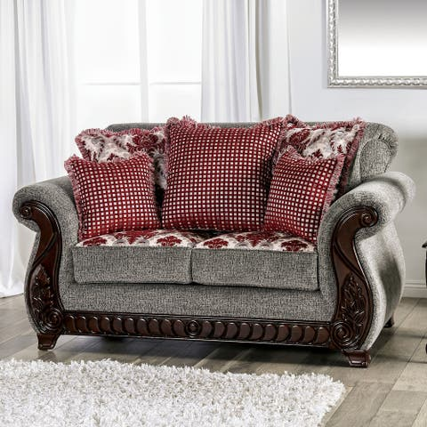 Gracewood Hollow Durakovic Traditional Grey and Red Chenille Loveseat