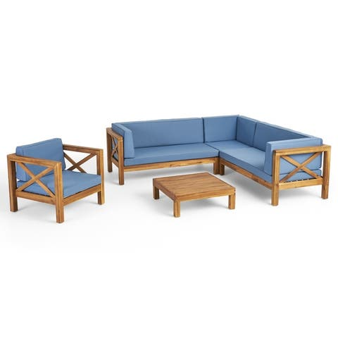 Brava Outdoor 6 Seater Acacia Wood Sectional Sofa and Club Chair Set by Christopher Knight Home