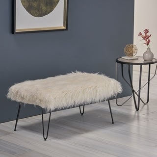 Link to Binniker Faux Fur Bench with Hairpin Legs by Christopher Knight Home Similar Items in Living Room Furniture