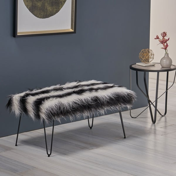 Binniker Faux Fur Bench with Hairpin Legs by Christopher Knight Home. Opens flyout.