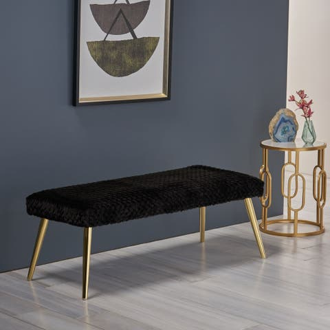 Capernaum Patterned Faux Fur Bench by Christopher Knight Home