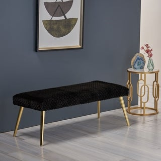 Link to Capernaum Patterned Faux Fur Bench by Christopher Knight Home Similar Items in Living Room Furniture