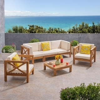 Brava Outdoor 5 Seater Acacia Wood Sofa Chat Set by Christopher Knight Home