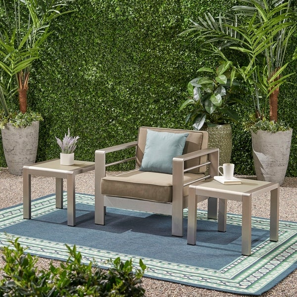 Christopher Knight Home Cape Coral Outdoor Aluminum Side Table (Set of 2)