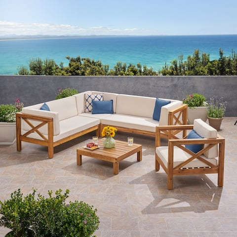 Brava Outdoor 6 Seater Acacia Wood Sofa Chat Set by Christopher Knight Home