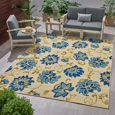 Christopher Knight Home Lufta Outdoor Floral Area Rug