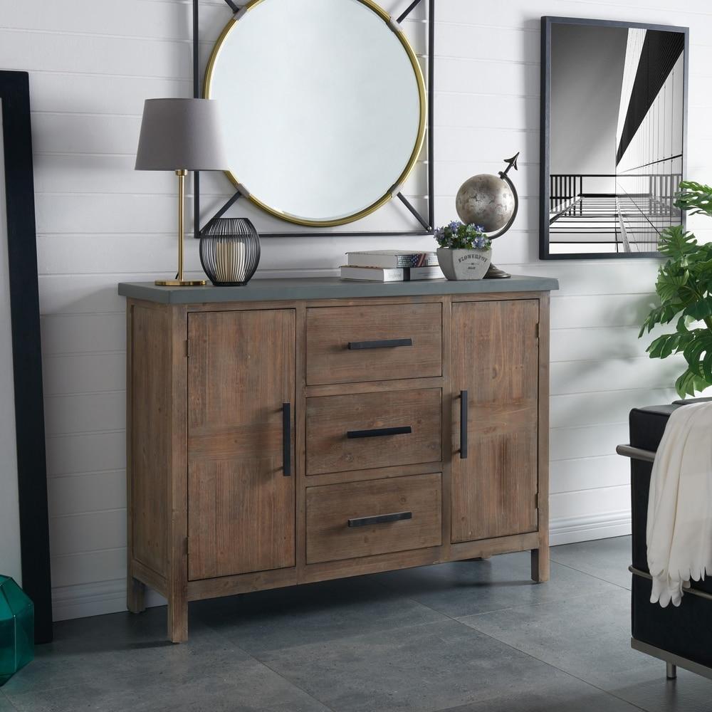 Carbon Loft  Prepon Wood 3-drawer Sideboard (Rustic Brown)