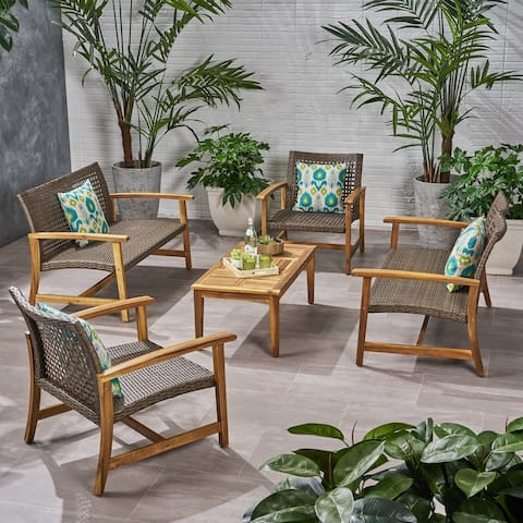 Hampton Outdoor 5 Piece Wood and Wicker Loveseat Chat Set by Christopher Knight Home