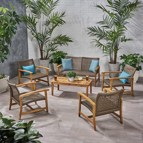 Hampton Wood and Wicker 6-piece Outdoor Chat Set by Christopher Knight Home