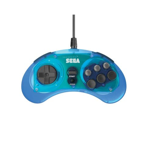 Retro-Bit Official SEGA Genesis Controller Classic 8 Button Arcade Pad with USB Port for PC, Mac, Steam, Clear Blue - Clear Blue