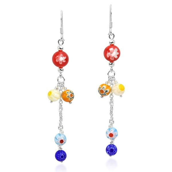 7d0377c36 Handmade Colorful Cluster Millefiori Bead .925 Silver Earrings (Thailand)