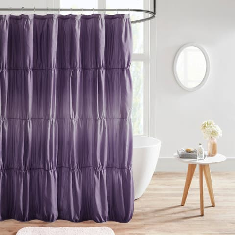 Intelligent Design Josie Ruched Ombre Printed Shower Curtain 2-Color Option
