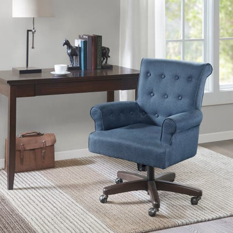 Madison Park Timmy Morocco Wood Finish Blue Office Chair