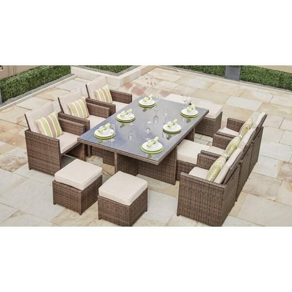 11-piece Outdoor Wicker Dining Set Patio Furniture by Moda Furnishings