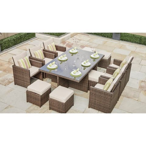 11-piece Outdoor Wicker Dining Set Patio Furniture by Moda Furnishings