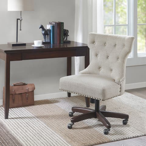 Madison Park Bree Cream Fabric/Wood Office Chair