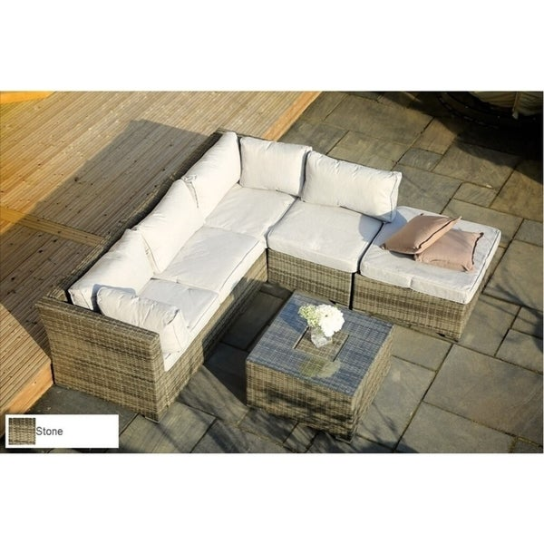 Shop 4 Pcs Outdoor Rattan Patio Deep Seating Group With