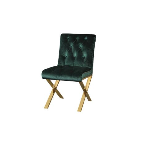 Velvet Upholstered Dining Side Chairs with Steel X Style Legs, Green and Gold, Set of Two