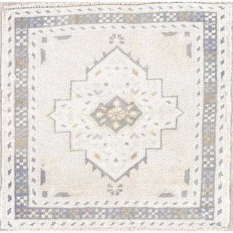 "Oushak Geometric Handmade Wool Turkish Oriental Rug - 1'8"" x 1'8"" Square"