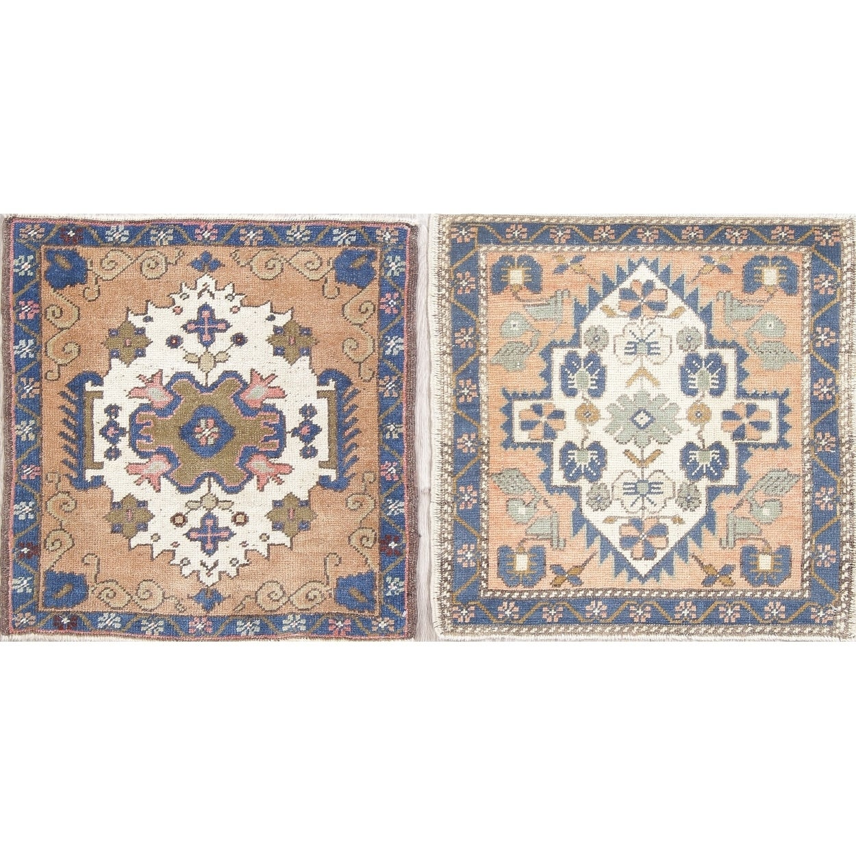 Set Of 2 Oushak Geometric Handmade Wool Turkish Oriental Rug 2 0 X 2 1 Square