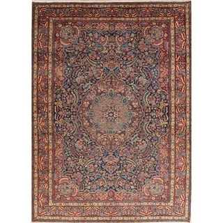 "Antique Tabriz Floral Medallion Handmade Wool Persian Area Rug - 12'6"" x 9'0"""
