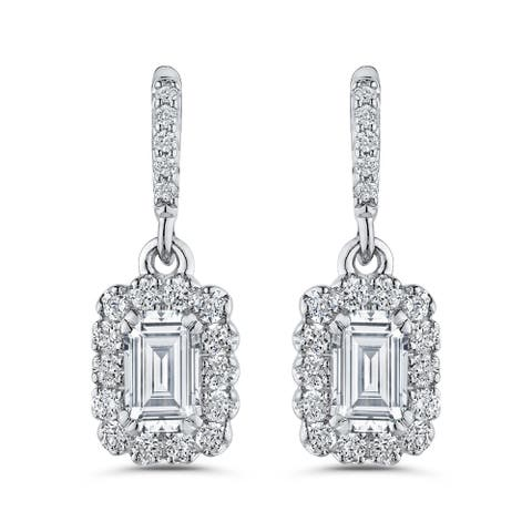 14K White Gold 3/4ct TDW Emerald-cut Diamond Drop Earrings (G-H, S1)