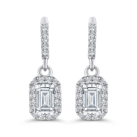 14K White Gold 5/8ct TDW Emerald-cut Diamond Drop Earrings (G-H, S1)