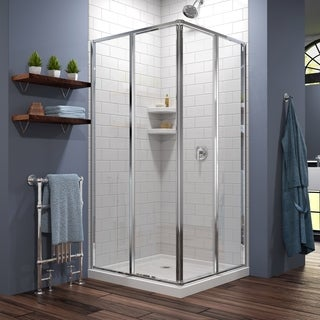"""DreamLine Cornerview 42 in. D x 42 in. W x 74 3/4 in. H Sliding Shower Enclosure and Shower Base Kit - 42"""" x 42"""""""