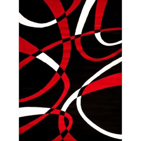 """Persian Rugs 2305 Red Modern Abstract Area Rug 8x11 - 7'10"""" x 10'6"""""""