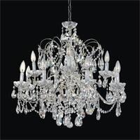 12 Light Polished Chrome Frame and Crystal Traditional Chandelier   Crown Jewwl 537