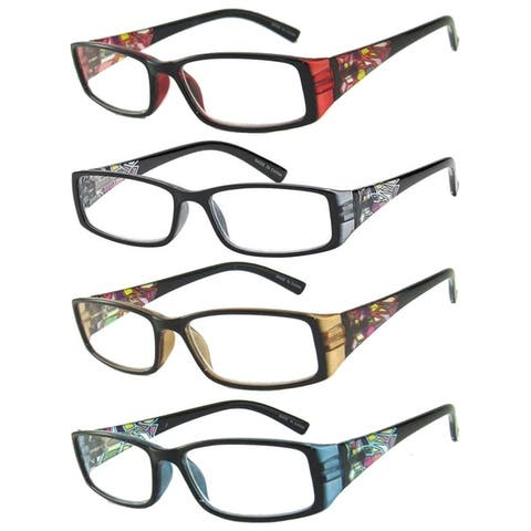 Womens Stain Glass Reading Glasses - 4 Pair Pack
