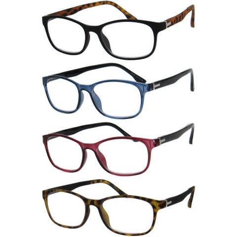 Modern Rectangle Two Color Reading Glasses 4 Pair Pack
