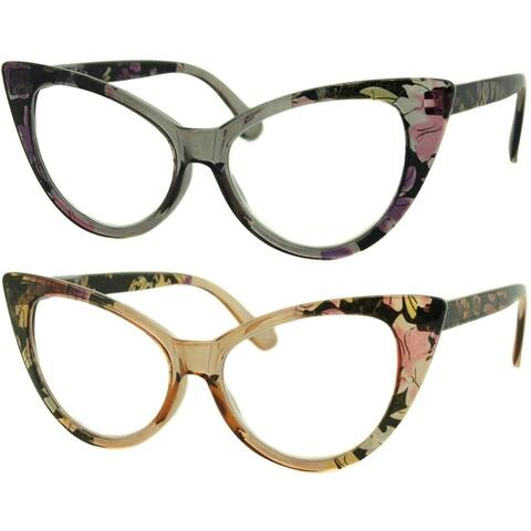 Womens Cat Eye Reading Glasses, 2 Pairs