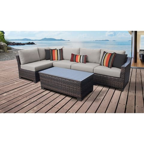 kathy ireland River Brook 6 Piece Outdoor Wicker Patio Furniture Set 06q