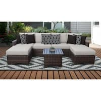 kathy ireland River Brook 7 Piece Outdoor Wicker Patio Furniture Set 07a