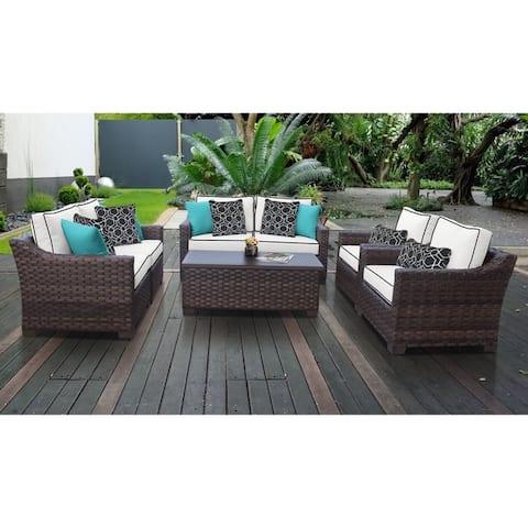kathy ireland River Brook 7 Piece Outdoor Wicker Patio Furniture Set 07e