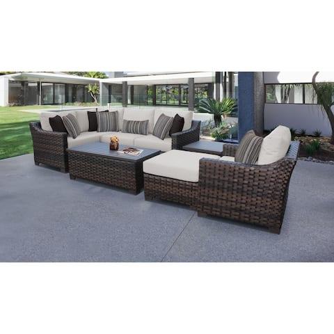 kathy ireland River Brook 8 Piece Outdoor Wicker Patio Furniture Set 08n
